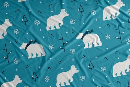 Eisbär Schnee Vektor Nahtloses Muster Hintergrund