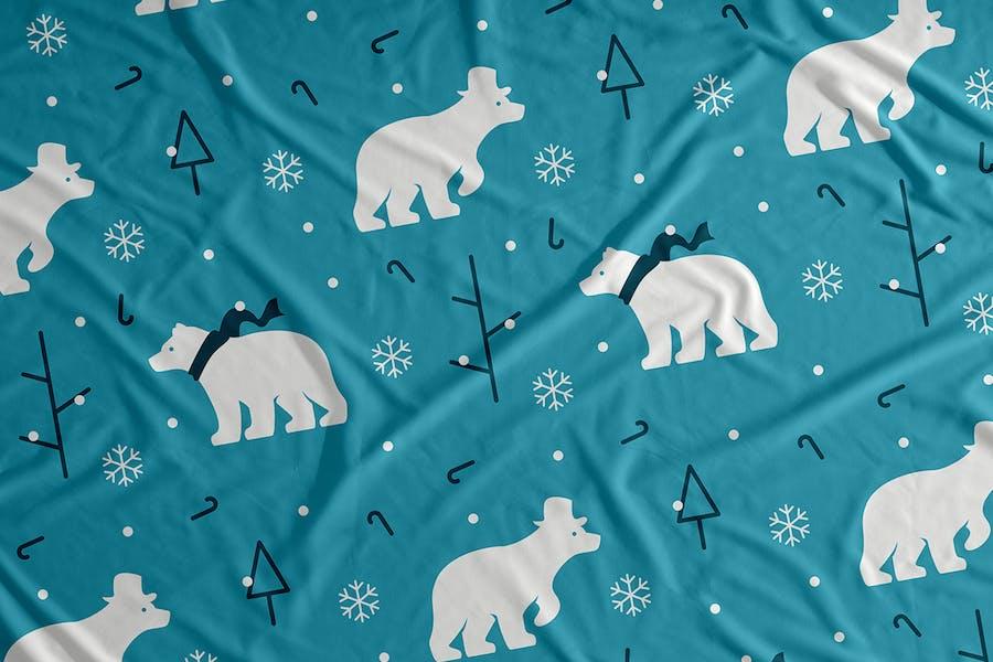 Polar Bear Snow Vector Seamless Pattern Background