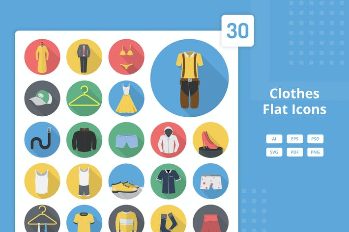 Thumbnail for Clothes - Flat Icons