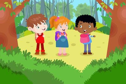 Children Exploring the The Forest - Illustration
