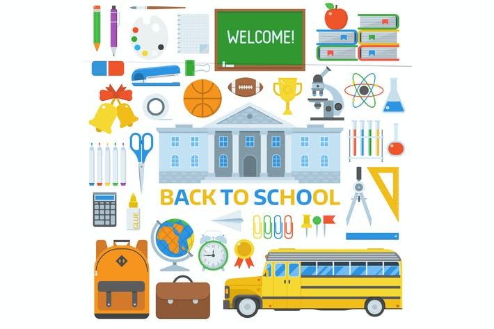 Thumbnail for Back to School Design Elements Set