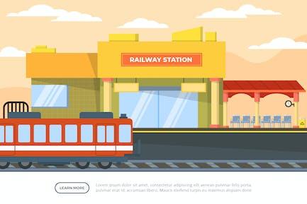 Railway Station - Building Illustration