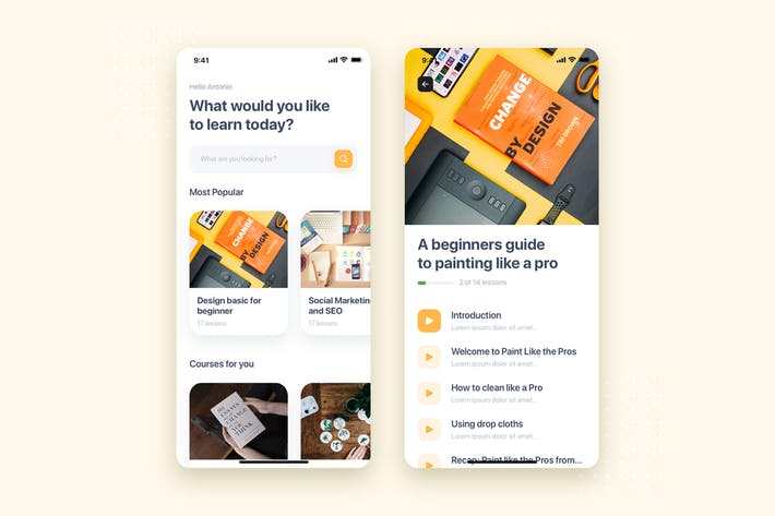 Thumbnail for Online Course Mobile App UI Kit Template
