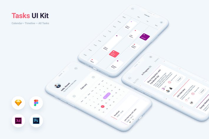 Cover Image For To do Tasks Mobile App UI Kit Template