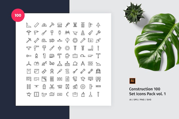 Thumbnail for Construction 100 Set Icon Pack Vol. 1