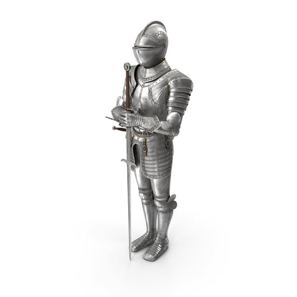 Medieval Knight Plate Armor standing with Zweihander