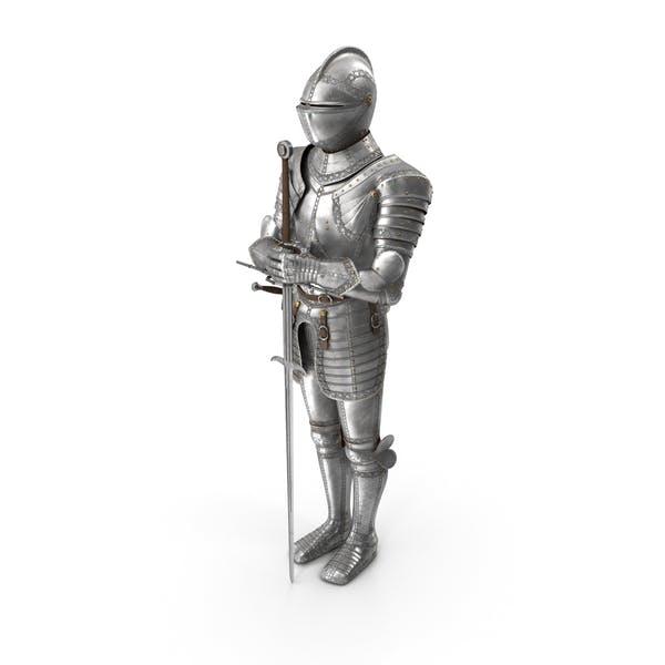 Mittelalterliche Ritter-Plattenrüstung stehend mit Zweihander