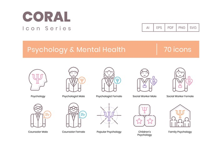 Thumbnail for 70 Psychology & Mental Health Line Icons