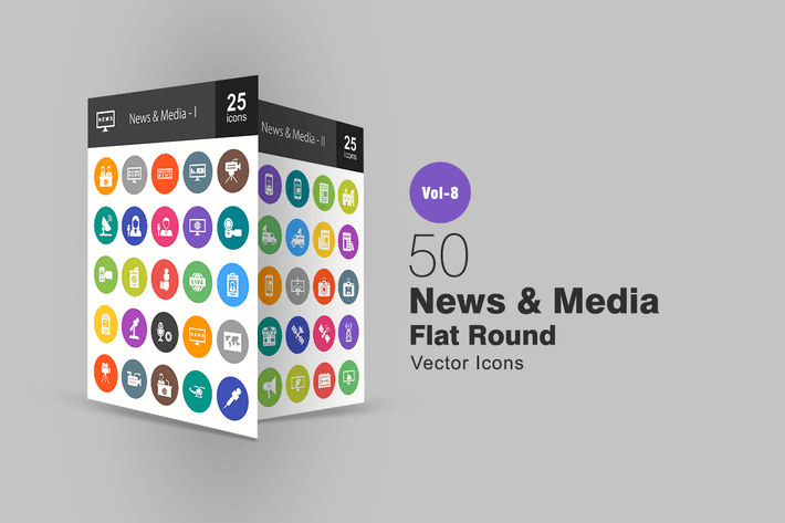 Thumbnail for 50 News & Media Flat Round Icons