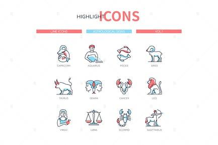 Zodiac signs - line design style icons set