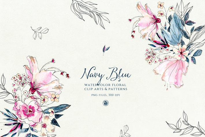 Thumbnail for Navy Blue Flowers