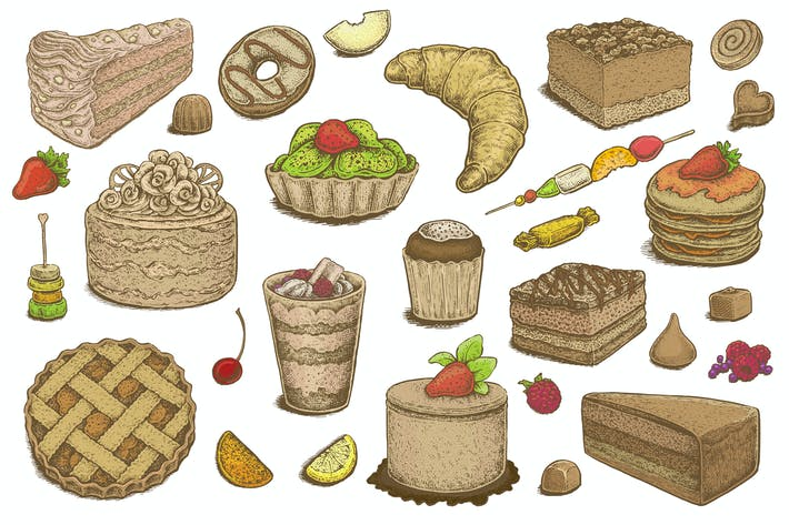 Thumbnail for Hand Drawn Desserts Vector Set