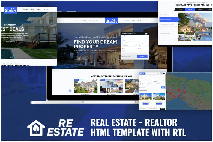Thumbnail for Real Estate - Realtor HTML Template with RTL