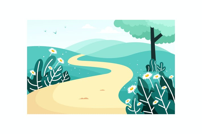 Thumbnail for Beautiful scenery with a path on a hill