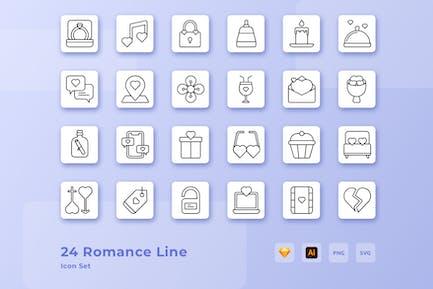 Valentine Romance Love Line Icon Set