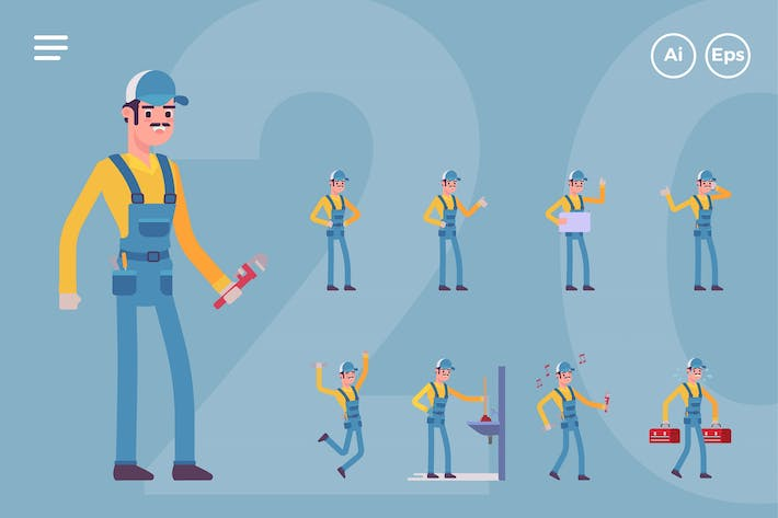 Cover Image For Male Plumber, Handyman Character Set (20 Poses)