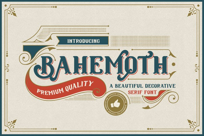 Thumbnail for Bahemoth - Font de Serif décorative vintage