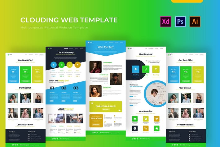 Thumbnail for Web Clouding | PSD Web Template