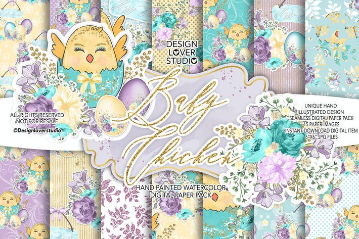 Thumbnail for Baby Chicken Easter digital paper pack