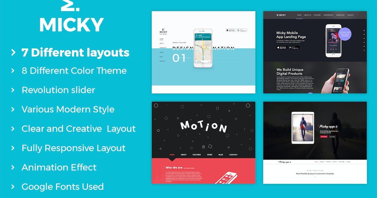 Download Micky - App showcase Template by kamleshyadav