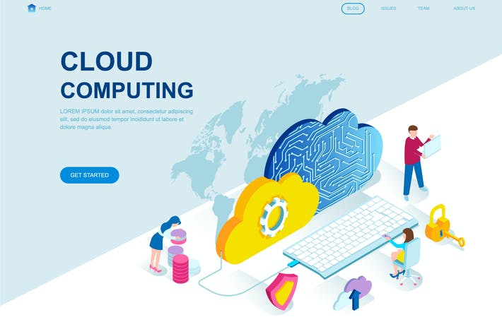 Thumbnail for Cloud Technology Isometric Landing Page Template