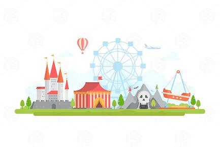Amusement park - vector illustration