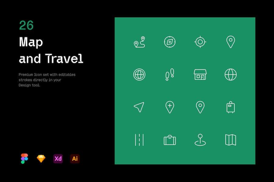 Karte und Reisen - Iconuioo