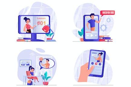 Distant Learning Scenes Web Illustrations Set