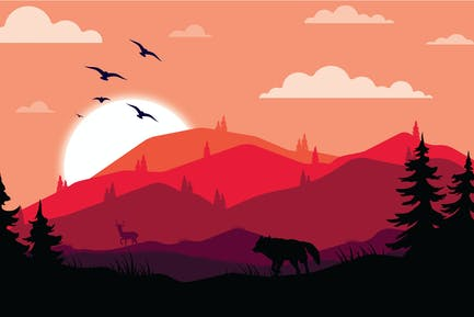 Jagender Wolf - Landschaftsillustration