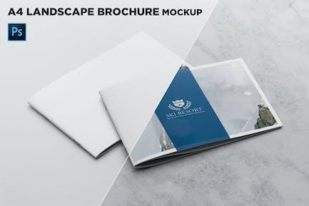2 Covers Landscape Brochure Mockup