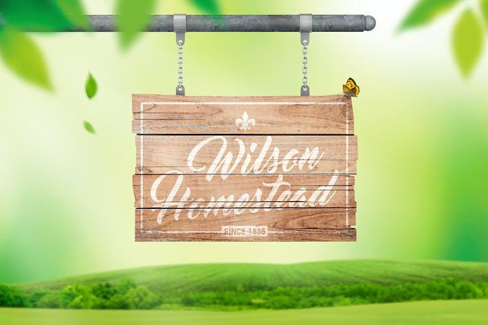 Thumbnail for Hanging Wooden Sign Mockup