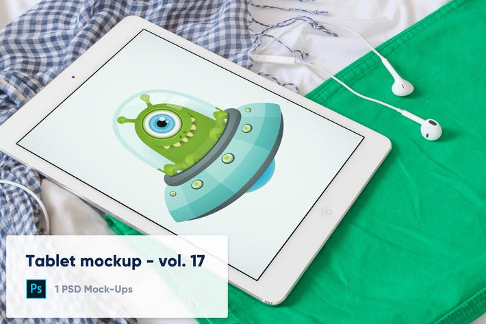 Thumbnail for Tablet auf bunte Kleidung Mockup - Vol. 17