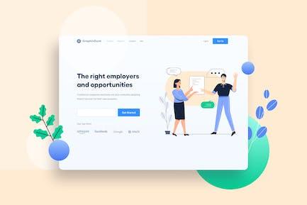 Job Seeker Search Jobs Website Illustration