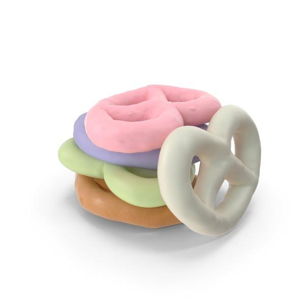 Small Pile of Mixed Yogurt Covered Mini Pretzels