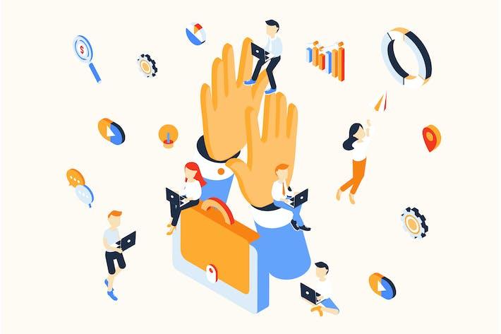 Thumbnail for Isometrische Illustration im Teamwork