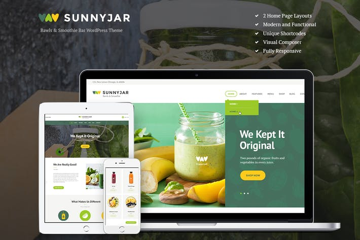 Thumbnail for SunnyJar - Smoothie Bar & Healthy Drinks Shop WP