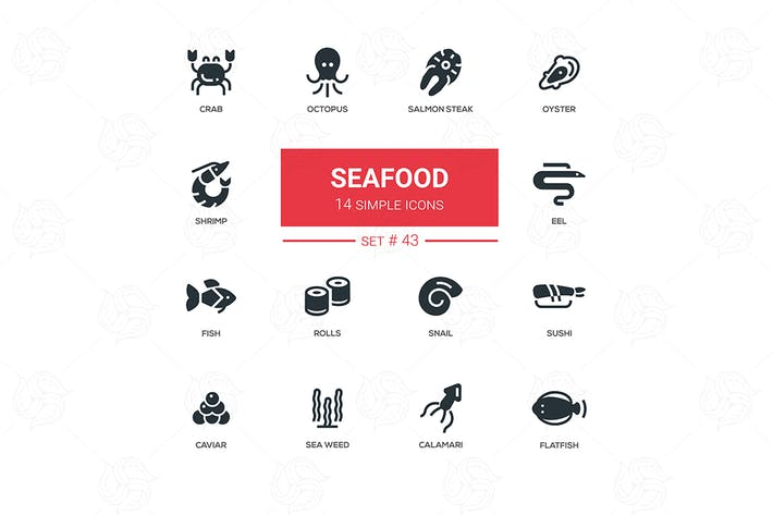 Thumbnail for Seafood concept - line design icons set