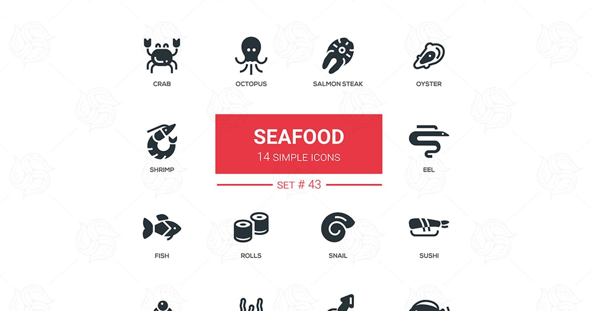 Download Seafood concept - line design icons set by BoykoPictures