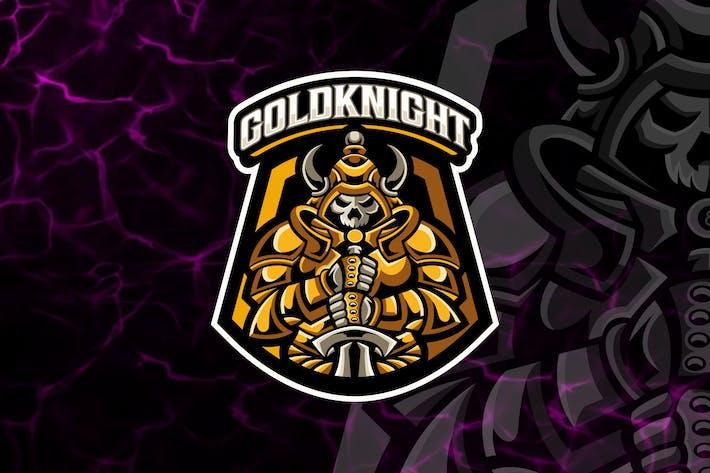 Gold Knight Shield Mascot Esport Logo