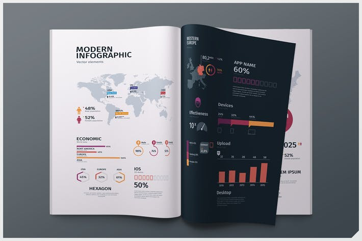 Thumbnail for Modern editable infographics vol. 01