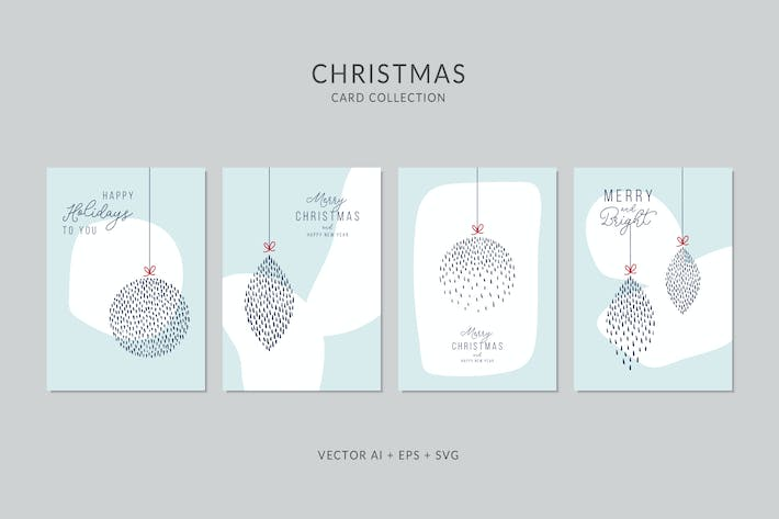 Cover Image For Christmas Greeting Card Vector Set