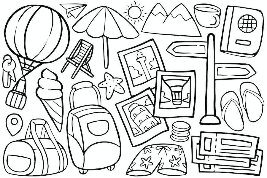 Reise-Doodle im Cartoon-Stil #02