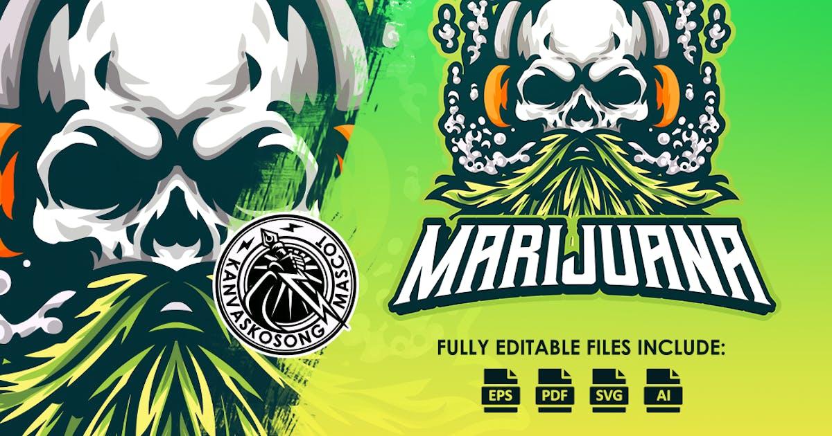 Download Marijuana Skull Mascot Logo Template by kanvas_kosong