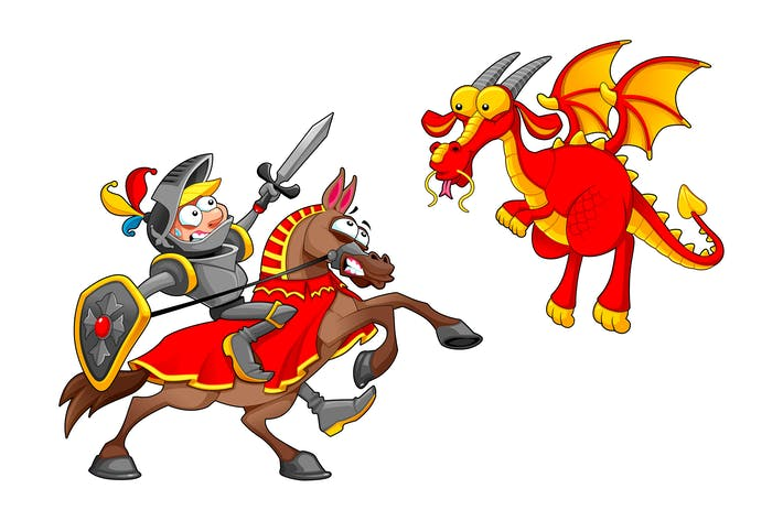 Thumbnail for Knight on Horse Fighting the Dragon
