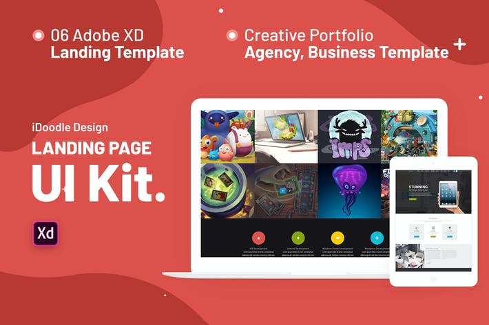 Thumbnail for iNine UI Kits Landing Page Adobe XD Template
