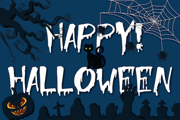 Happy Halloween - Vector Postcard
