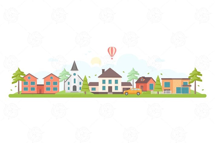 Thumbnail for Town landscape - flat design style illustration