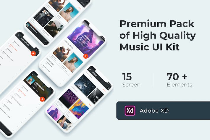 Cover Image For Music Multimedia UI KIT for XD