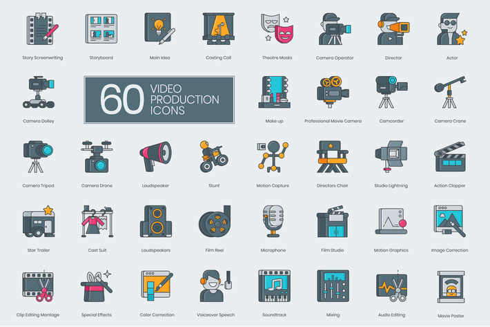 60 Video Production Icons by Krafted on Envato Elements