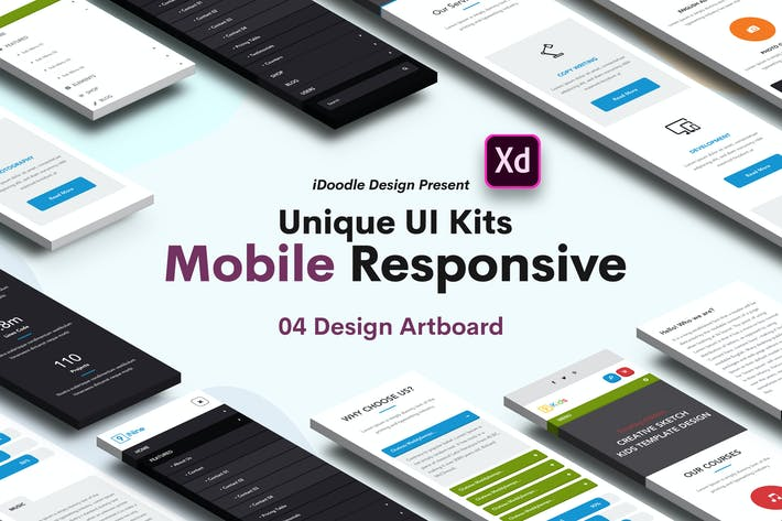 Thumbnail for Mobile Responsive UI Kits Adobe XD Template